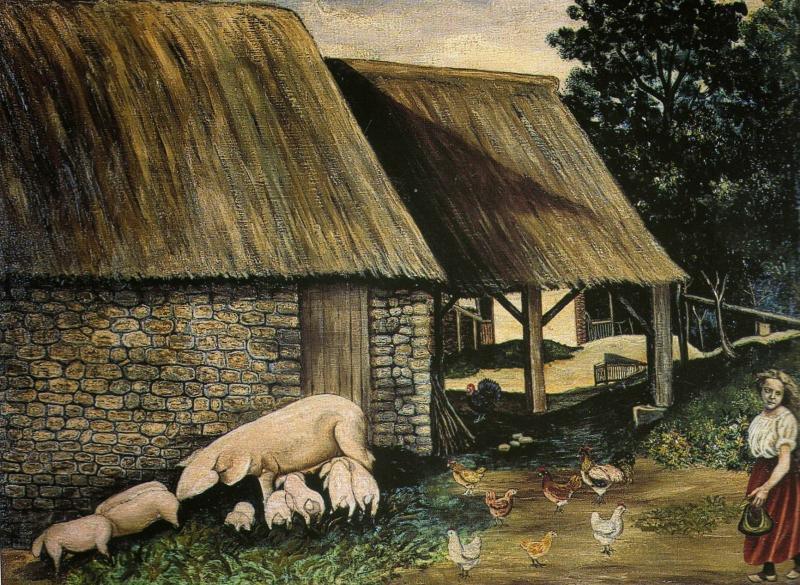 """""""Cour de ferme"""" HsT 92x75 cm / Collect. particulière"""