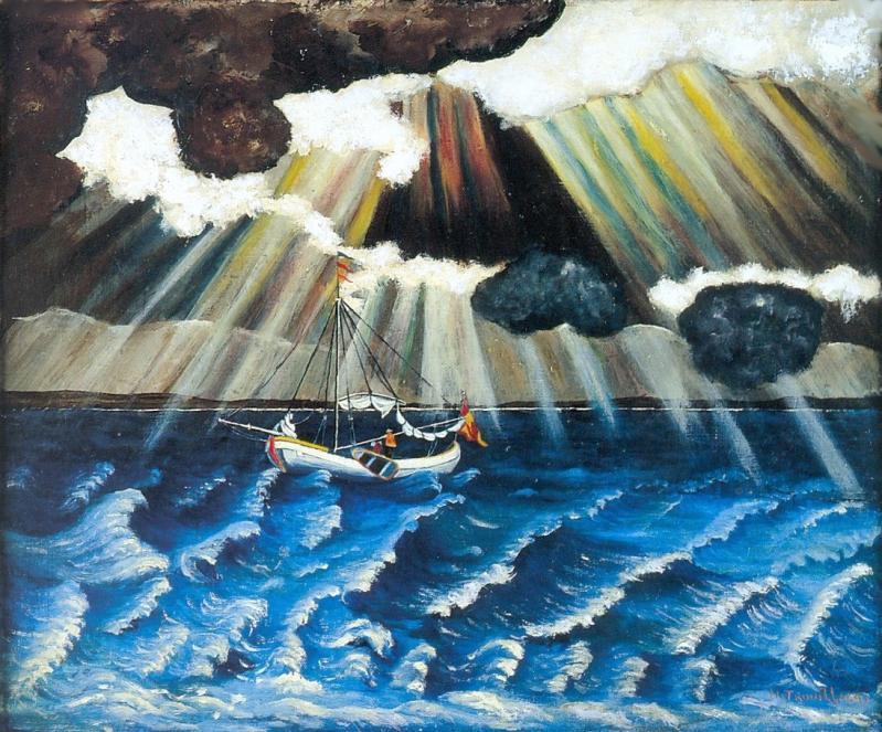 """""""Bateau en mer n° 1"""" HsT Sbd 46x56 cm / Collect. Musée de Laval"""