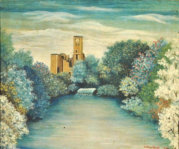 """""""Les ruines"""" 1958 HsT Sbd 45x54 cm / Collect. particulière RR"""