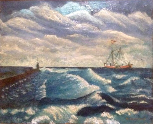 """""""Bateau en mer n° 2"""" HsT Sbd 46x56 cm / Collect. Musée de Laval"""