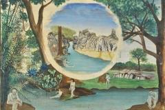 """""""Étude préparatoire Autrefois N°2"""" Monogrammée au dos, cachet de l'artiste. Envoi du peintre à son petit-fils Franck. / Collect. Musée de Laval"""